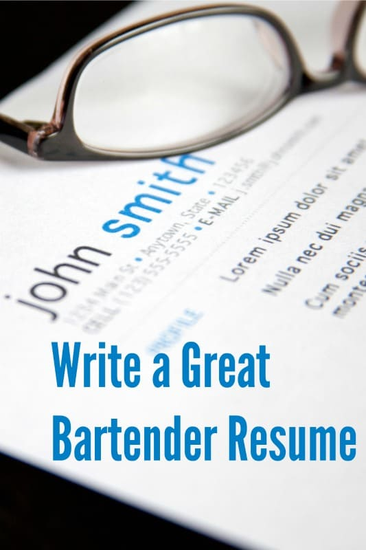how to write a bartending resumes