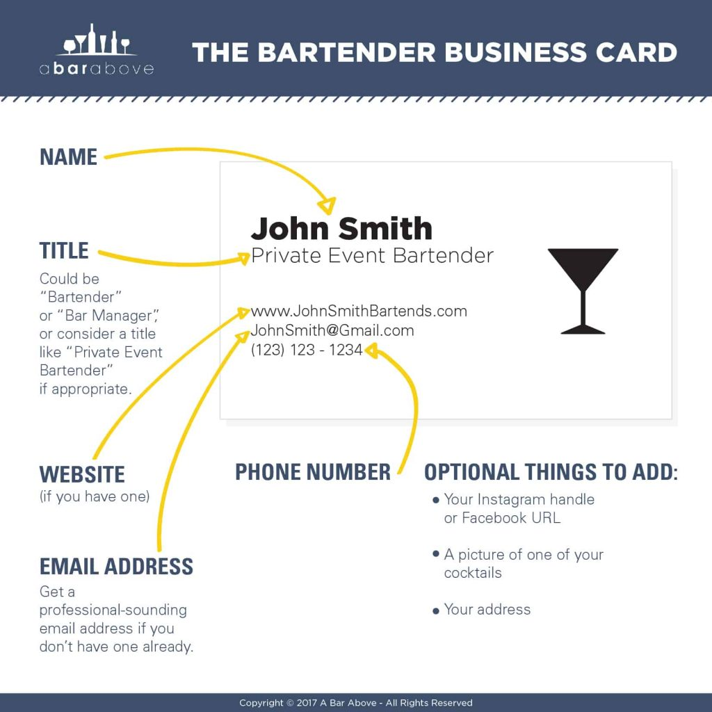 Bartender business cards why you should have them and how to get the bartender business card reheart Images