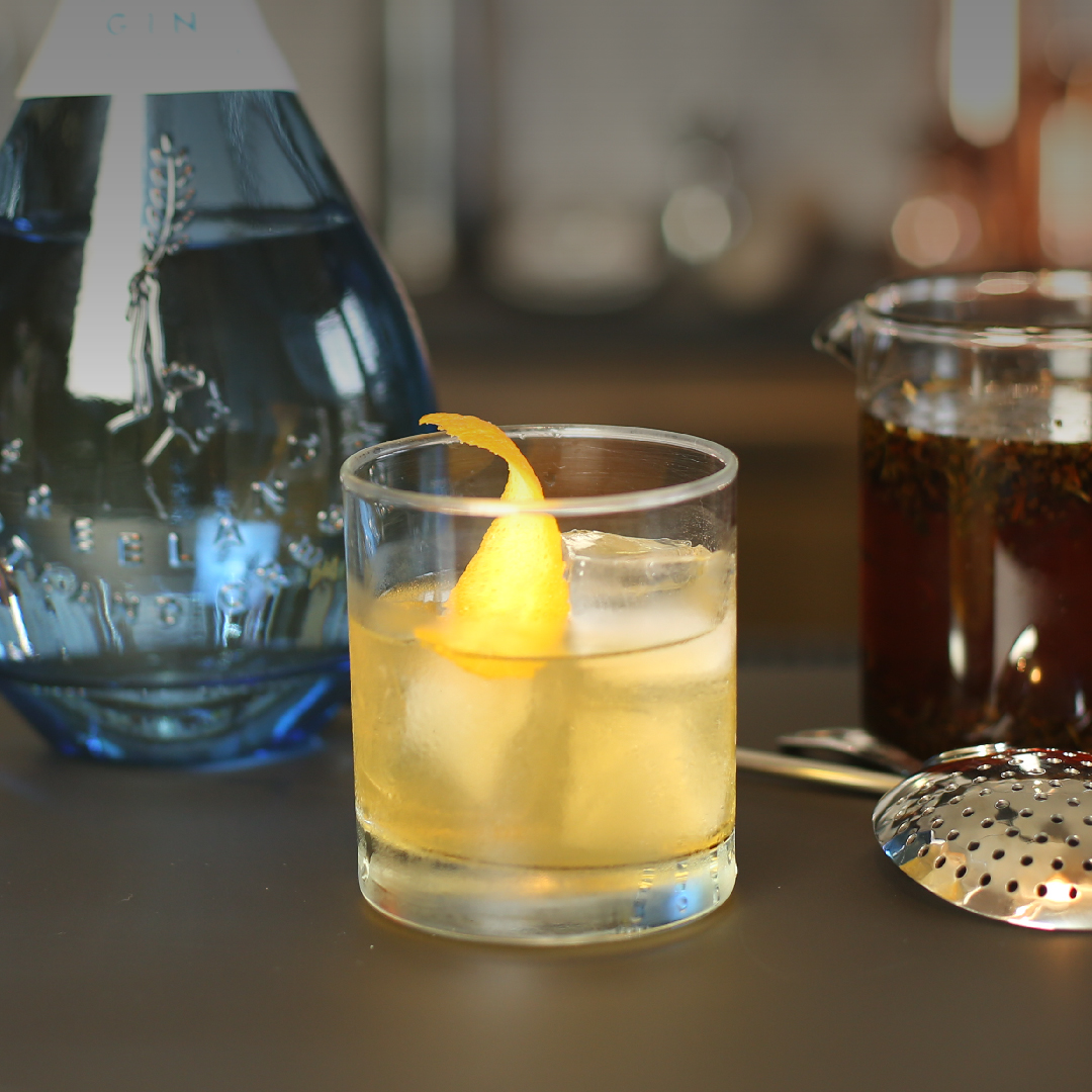 Floral tea Infused Gin Old Fashioned